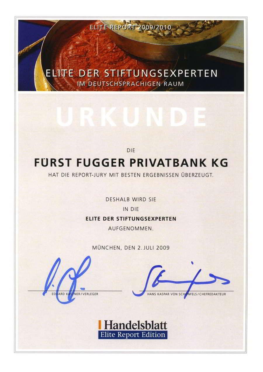 Fürst Fugger Privatbank Urkunde