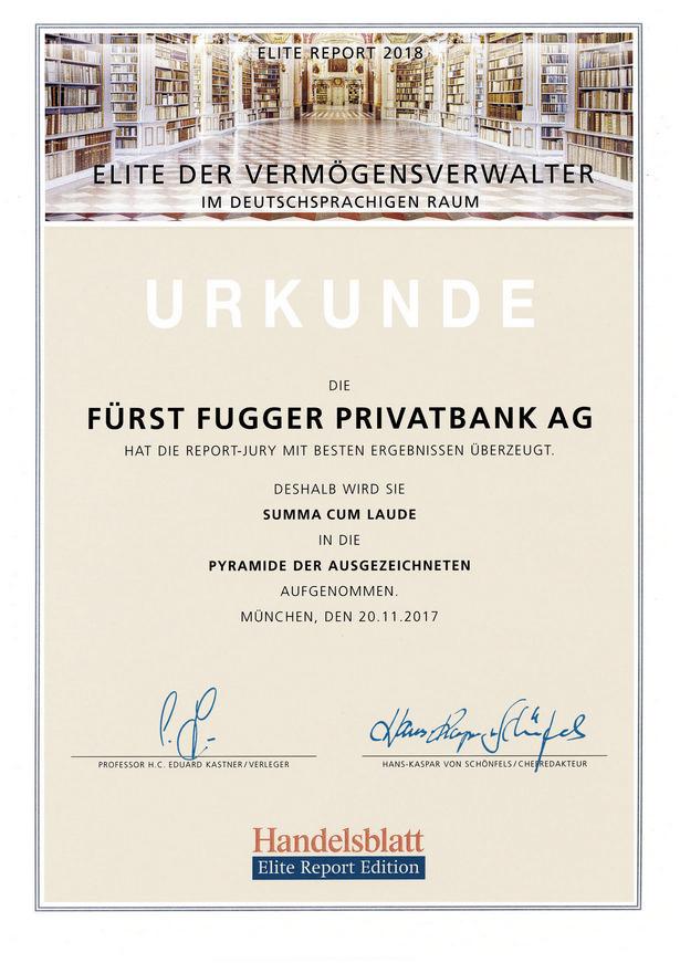 Elite der Vermögensverwalter - Urkunde der Fürst Fugger Privatbank